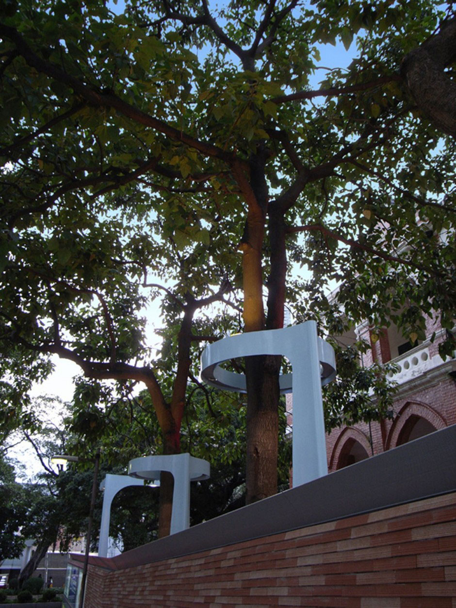 Lampposts Viewed from Behind the Wall Circular Shape