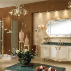 Luxury Classic Bathroom with Mirror in Wooden Frame and Gold Trim