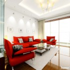 Reds Sofa Combination with White Rugs