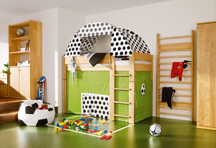 Soccer field cool kids room themed side view interior for Boys football themed bedroom ideas