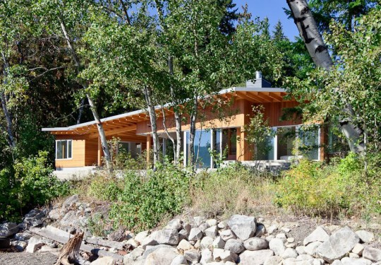 The Front Side of Shuswap Lake Cabin by Splyce Design