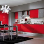 Ala Cucine Grey Kitchen with Red Cabinet