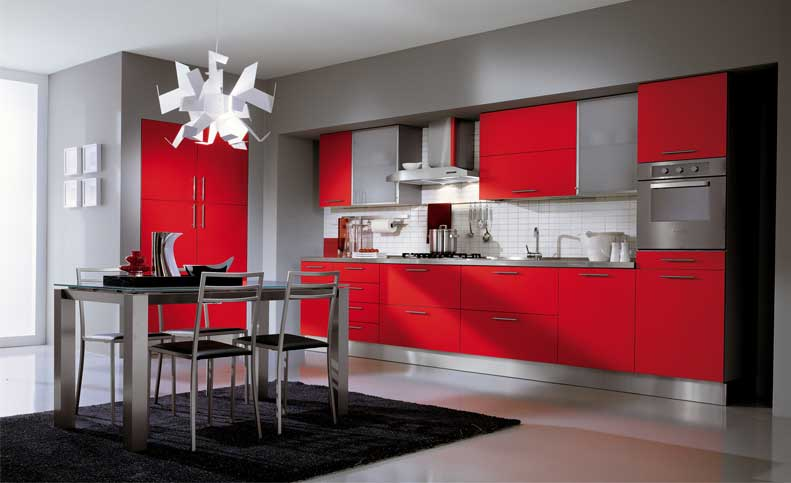 Ala Cucine Grey Kitchen with Red Cabinet  Interior Design Ideas