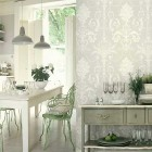 Antique White Kitchen with Jacquard Wallpaper