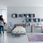 Aqua Lavendar White Contemporar Teenagers Room Design Ideas