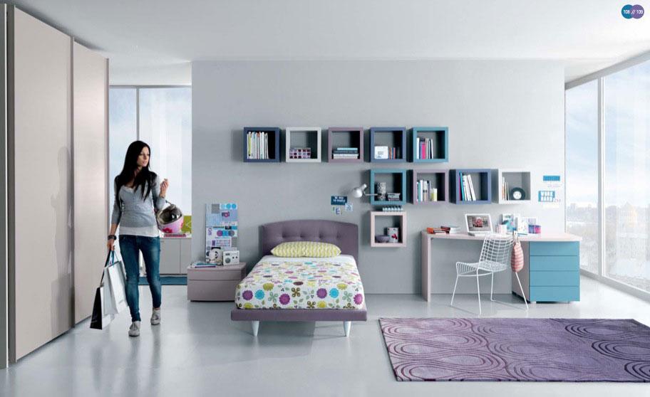 Aqua Lavendar White Contemporar Teenagers Room Design Ideas