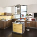 Awesome German Yellow Kitchen with Wooden Cabinets