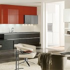 Awesome Red Kitchen with Simple Cabinet