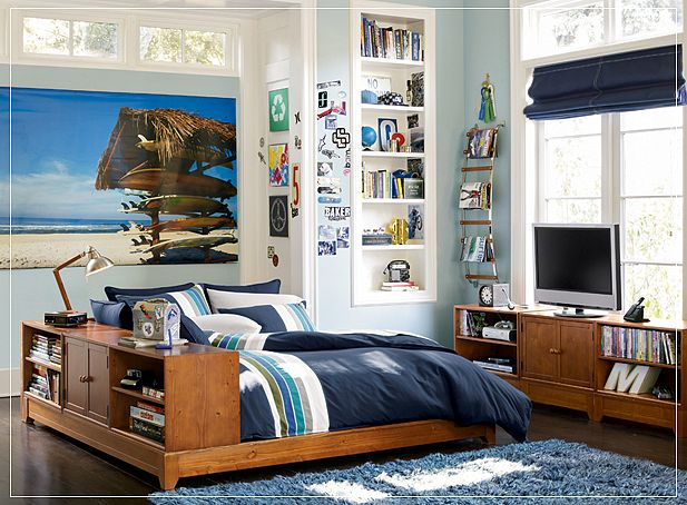 Beach atmosphere cool teen boys room with blue rug for Boys beach bedroom ideas