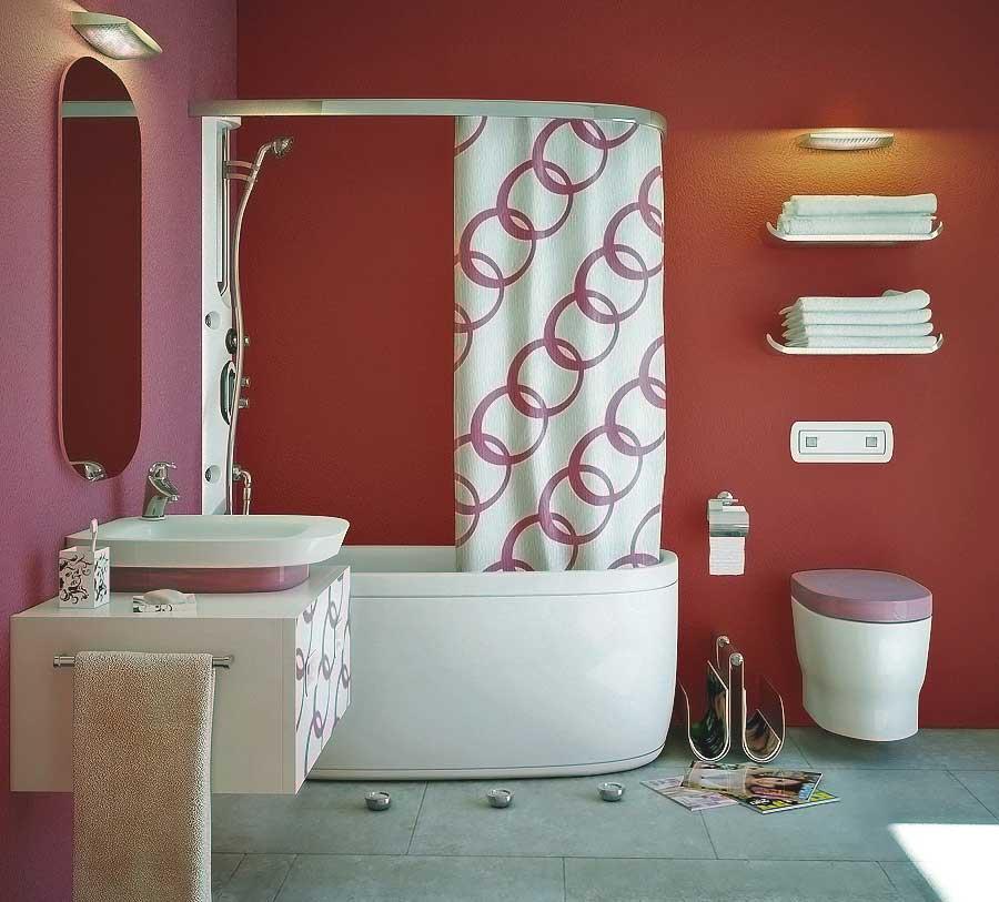 Beautiful 3D Imaging Modern Pink Red Bathroom 2011