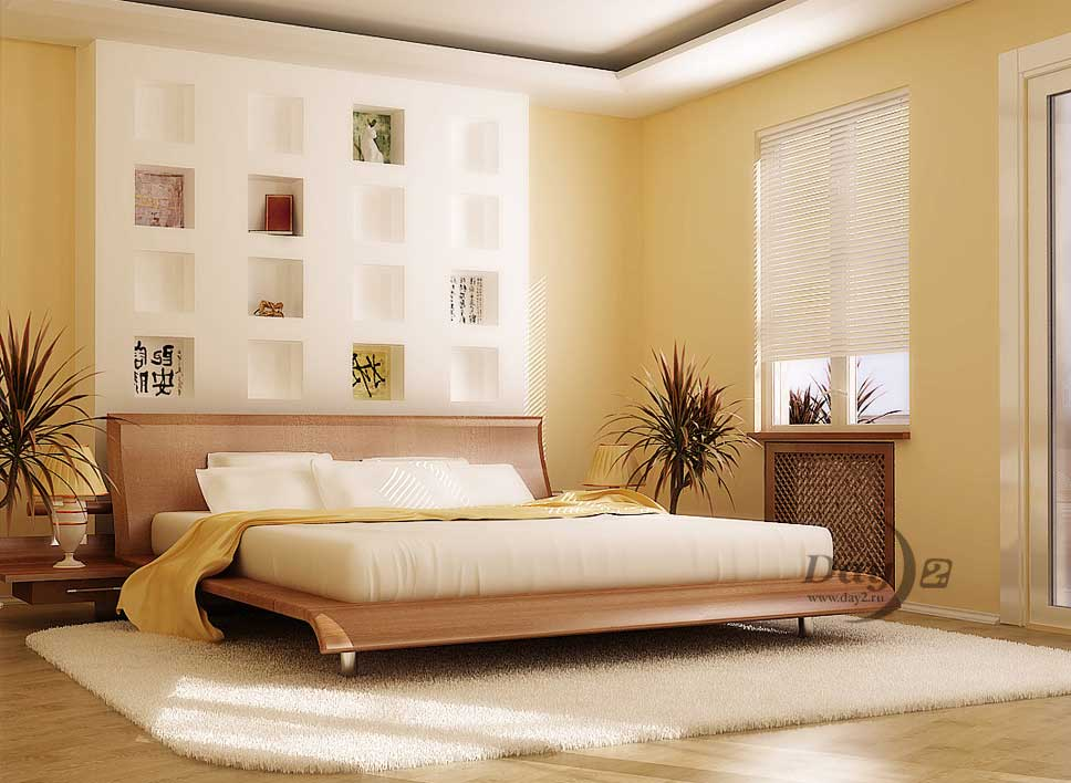Beautiful Bedroom With Large White Rug By Zhitnik