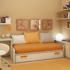 Beautiful Children Room Wdeas with Orange Rug and White Bookcase