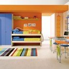 Beautiful Colorful Boys Bedroom Ideas with Line Rug
