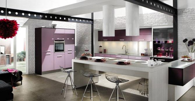 Beautiful Kitchen Violet Accents