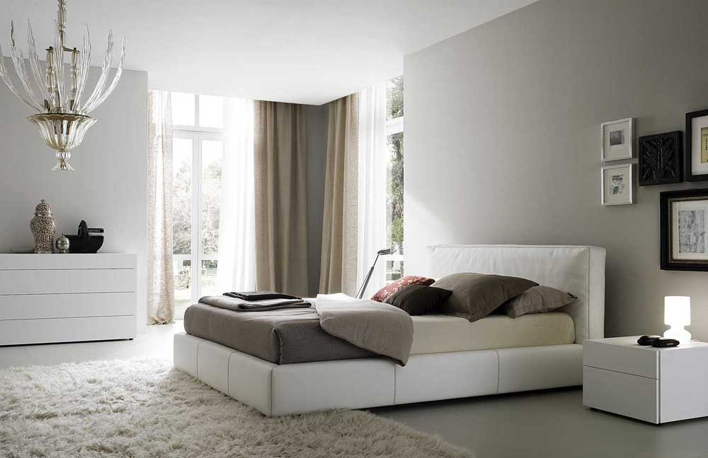 Beautiful modern bedroom with rug curtain interior for Beautiful contemporary bedrooms