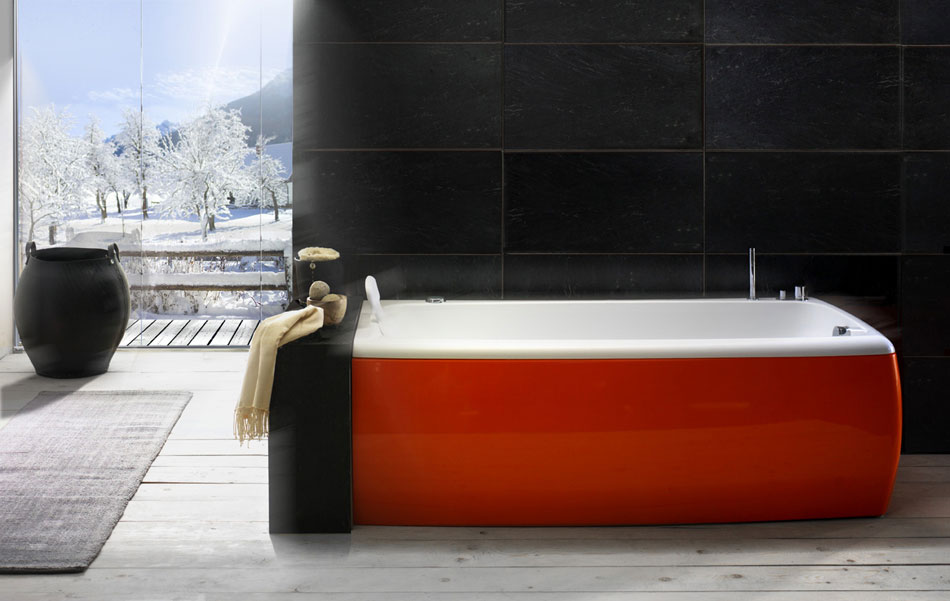 Beautiful Red and White Bathtub by BluBleu