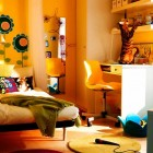 Beautiful Yellow IKEA Teen Room with Flower Wallpaper