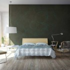 Bedroom With Beechwood Floors Dark and Exotic Green Walls
