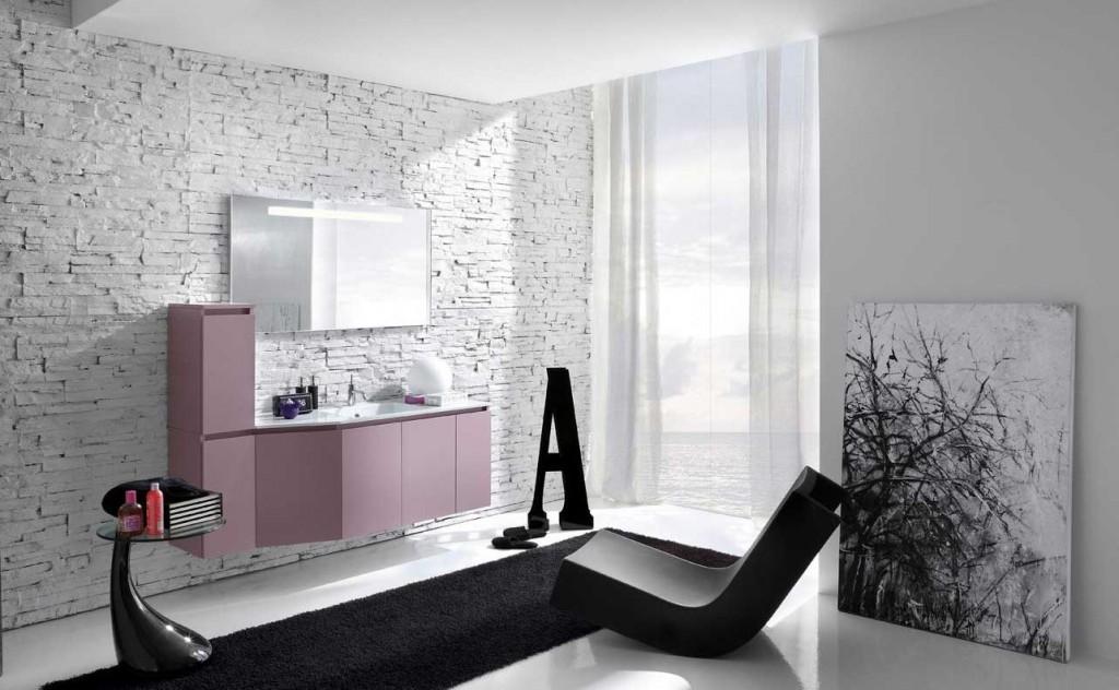 Best Modern Worn Wall Bathroom with Black Rug