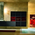 Best Modern Yellow and Red Bathroom with Red Rug