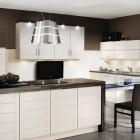Black Brown Kitchen with TV Design