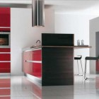 Black Red and Wite Kitchen by Mobalpa