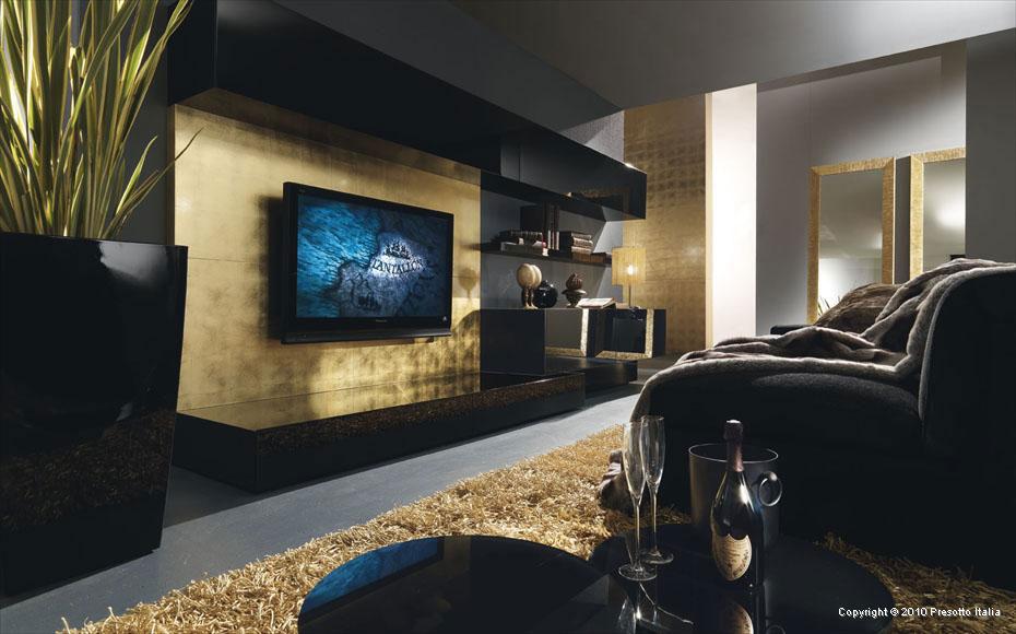 Black And Gold Italia Living Room Interior Design Ideas