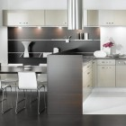 Black and White Kitchen with Steenles Steel Cabinet