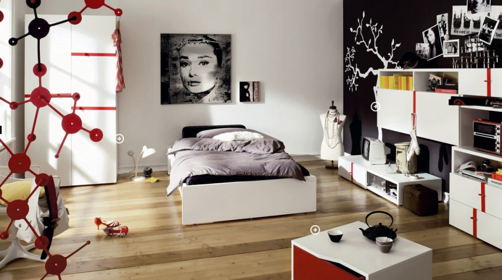Home Decorating Ideas Red Black And White Teenage Bedroom
