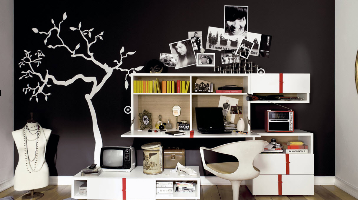 Black and White Trendy Teen Bedroom - Interior Design Ideas on Trendy Teenage Room Decor  id=17736