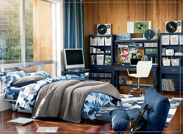 Blue Army Teen Boys Room Design With Bue Bookcase