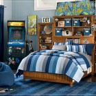 Blue Teen Boys Room with Stand Up Arcade Games and Mural Poster