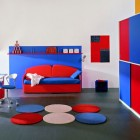 Blue and Red Boys Bedroom Ideas With Circle Rug