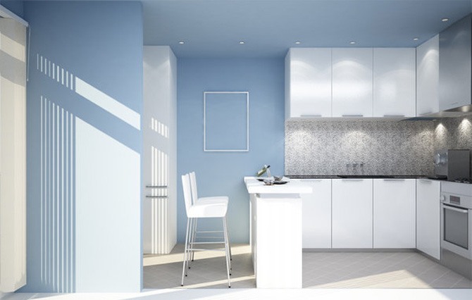 Blue and White Small Kitchen Inspiration
