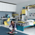 Blue and Yellow White Contemporary Teenagers Room Design Ideas
