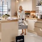 Brown Kitchen Design with Modern Chandelier