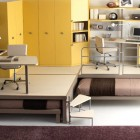 Bunk Beds and Lofts Design for Kids With Yellow Wardrobe and Brown Rugs