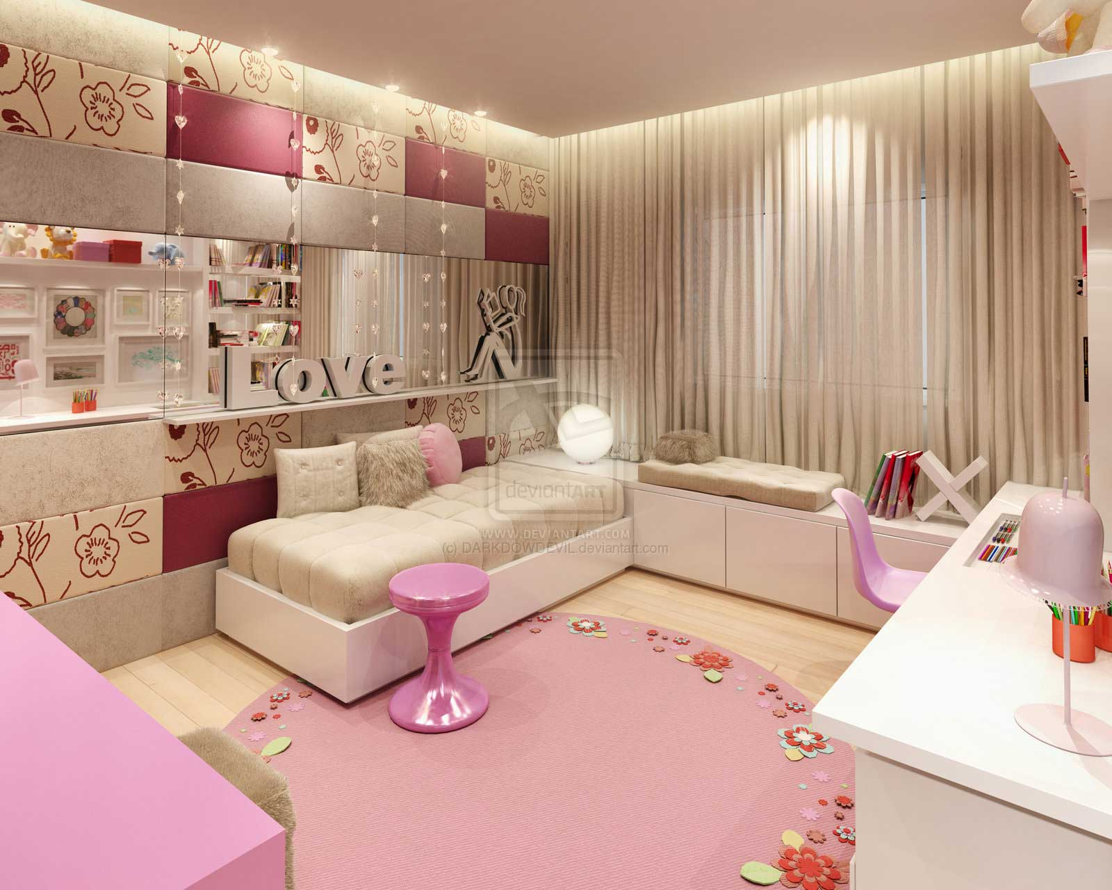 Comfort pink girl bedroom by darkdowdevil interior for Interior design bedroom pink
