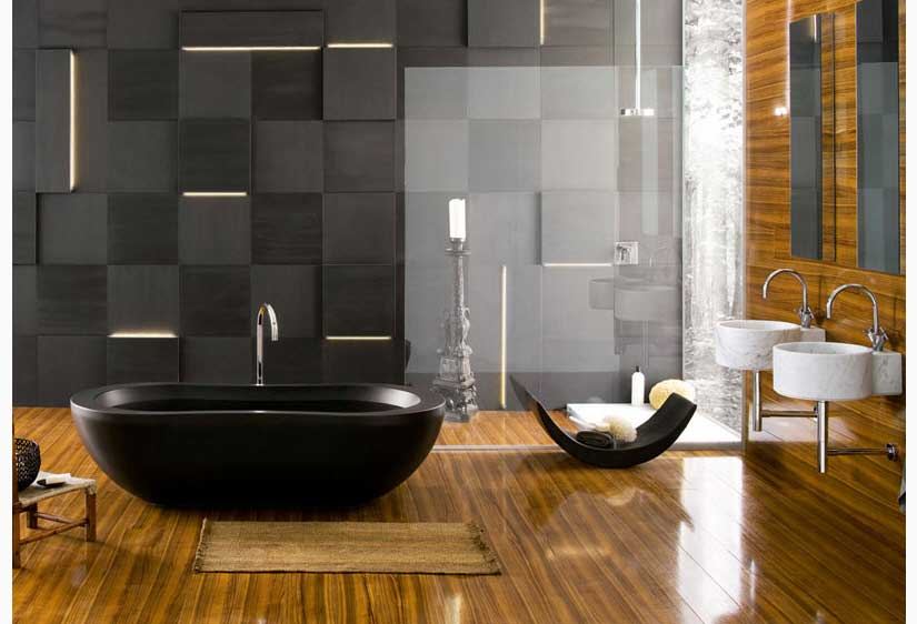 Contemporary Bathrooms from Neutra with Black Tub and Exotic Experience Wall