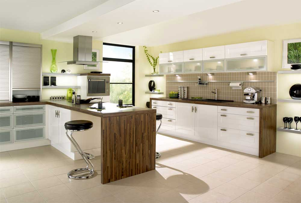 Contemporary white kitchen with green accents interior Modern green kitchen ideas