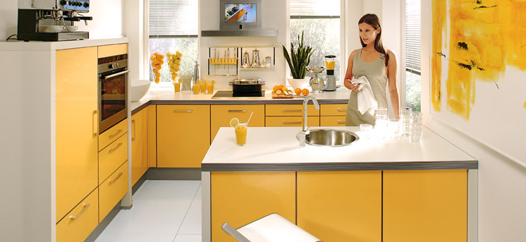 Contemporary yellow kitchen decoration interior design ideas for Modern yellow kitchen design