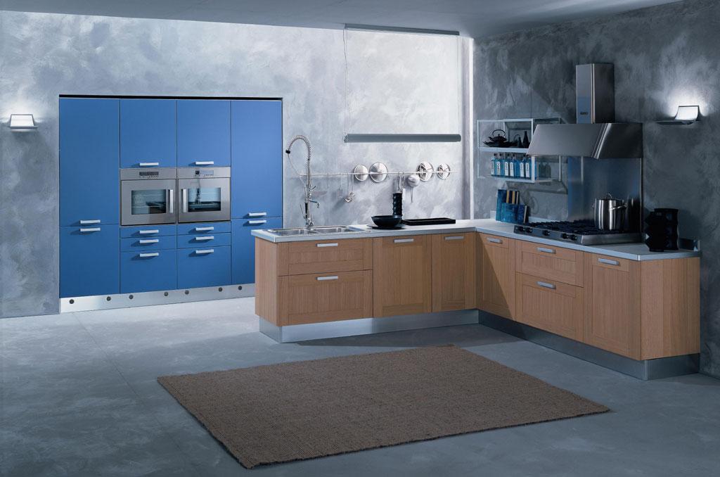 Cool Blue Kitchen With Unique Wall Decor And Brown Rug Interior Design Ideas