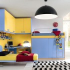 Cool Blue and Yellow Boys Bedroom Design With Mckey Mouse Doll
