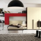 Cool Boys Bedroom Design with Red Bookchase and Chandelier