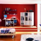 Cool Red Boys Bedroom Design with Blue Accents