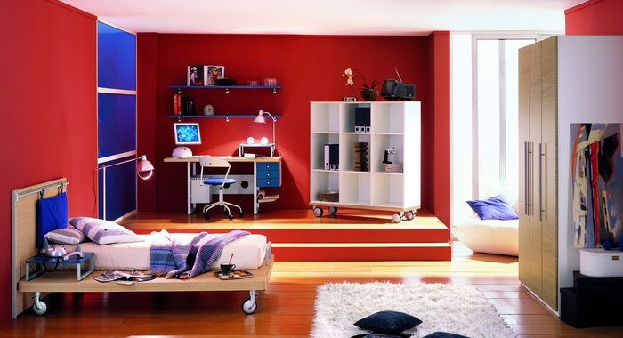 Cool Red Boys Bedroom Design with Blue Accents - Interior Design Ideas