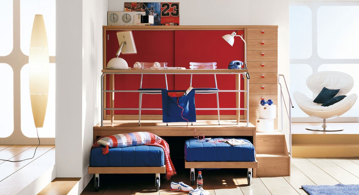Cool Red Boys Bedroom Multilevel Study Table - Interior Design Ideas