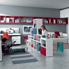 Cool Red White Blue Contemporary Teenagers Room Design Ideas