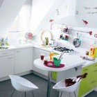 Cool White Kitchen Childrens Artwork Green Cabinets