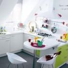 Cool White Kitchen Childrens Artwork Green Cabinets